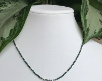 Butterfly Charm Necklace with Green Seed Beads