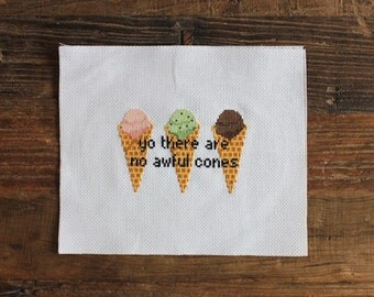 PATTERN: Cross Stitch Waffle Cones for Stace