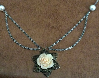 Brass Rose Charm Necklace