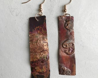 Copper earings with Patina finish *SOLD*