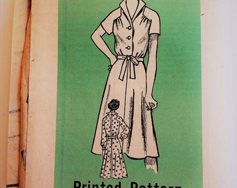 Vintage mail order sewing pattern 9438 - long and short sleeve shirt dress - size 38