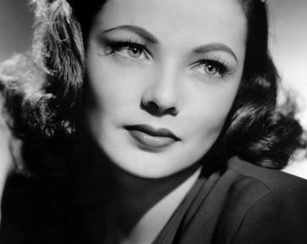 """Gene Tierney Monochrome Photographic Print 01 (A4 Size - 210mm x 297mm - 8.25"""" x 11.75"""") Ideal For Framing"""