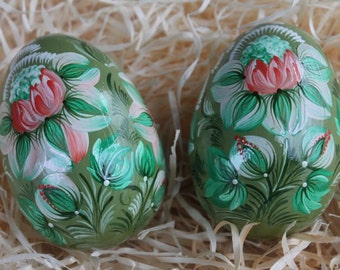 Wooden easter eggs etsy set two eggs pysanky eggs easter eggs wooden eggs easter decor folk art home decor easter negle Images