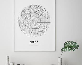 Milan City Map, Milan City Map Art, Street Map Poster, Fashion wall art, Milano, Italia, Italy Map Print, Milan Italy Map, Italy City Map