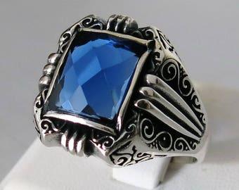 Handmade 925 Sterling Silver Blue Zircon STONES Men's RING #C65