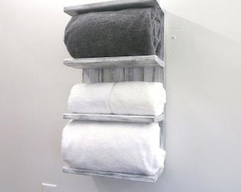 Reclaimed Wood Rolled Bath Towel Rack U2013 White 4 Tier Bathroom Shelf U2013  Coastal Decor Open