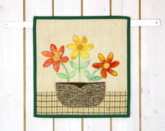 Rustic Spring Summer Quilt Patchwork, Rustic Wall Hanging, Rustic Table Topper, Cottage Garden, Farmhouse Kitchen, Flower, Mother's Day Gift