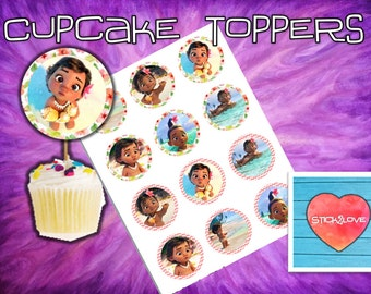 "Baby Moana printables 2"" circles  cupcake toppers stickers"