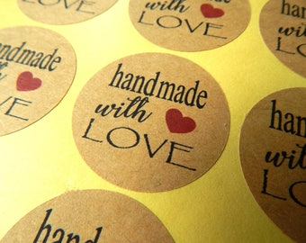12 - 192 pcs. Handmade With Love Sticker, Packaging Stickers, Wedding Invitations Labels, Favor Labels, Gift Wrapping Stickers