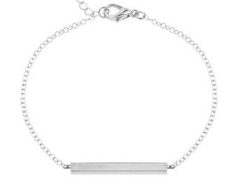 Long Bar Bracelet | Adjustable Silver Filled |Minimalist Silver Bar Bracelet | Simple Silver Bracelet