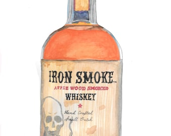 Iron Smoke  whiskey bottle life drawing.painted in watercolor on paper