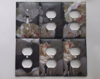 Outlet Covers: Black & White Flowers