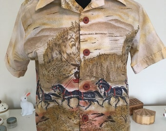 1960s, 1970s Shirt with horse print sz. small medium