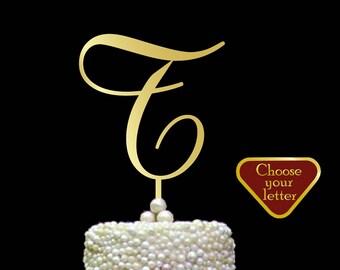 Letter T Cake Topper, gold wedding cake topper, initial cake topper, cake toppers single letters, wedding cake topper, Gold Letter t, CT#067
