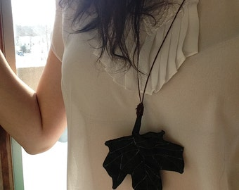 Cloth Maple Leaf Necklace