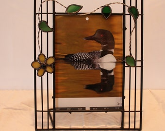 Wrought Iron Picture/Photo frame with Stained Glass accent