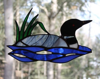 Stained Glass  Loon with Reeds Suncatcher