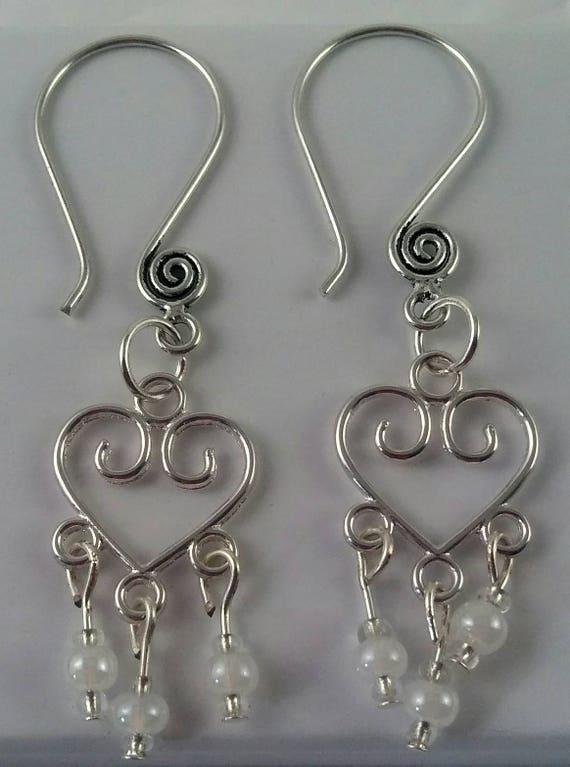 White heart chandelier earrings, heart dangle earrings, white bead jewelry, white theme jewelry collection, white glass beads, handmade