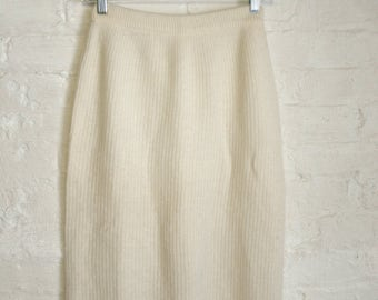 Angora Cream Knee Length Ribbed Skirt