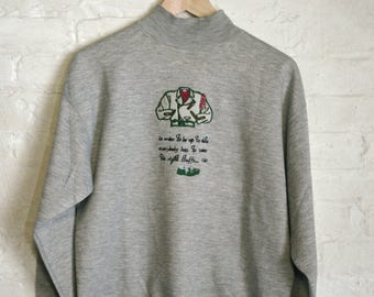 Embroidered Grey Mock Neck Sweater