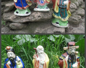 Vintage porcelain figurine Home decor Chinese porcelain statuette Hand painted porcelain Asian figurines Asian decor Three Star Gods