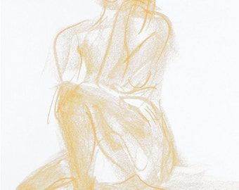 Original nude drawing, female sketch in the Studio, nude body drawing from pastels, female nude