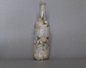 White Rose Decorated Bottle