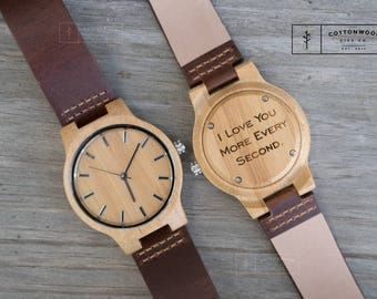 Leather Watches for Men, Wooden Watch, Boyfriend Birthday Gift for Husband, Mens Wood Watches, Gifts for Dad, Gifts for Him, Groom Gift