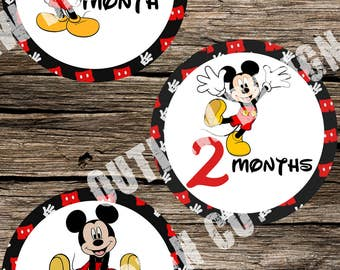 Baby Monthly Milestone Markers Printable Instant Download Mickey Mouse Clubhouse Disney Neutral Boy Girl Nursery