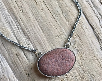 Oxidized Sterling silver terra cotta color beach stone bezel set on cable chain