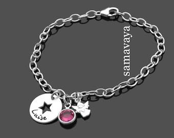 Baptism gift Angel star 925 silver bracelet child baptism jewelry