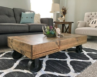 Factory Cart Industrial Coffee Table Caster Wheel Coffee Table Distressed Coffee Table Rustic