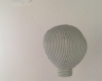 Green and White Striped Fabric Hot Air Balloon - Single Large