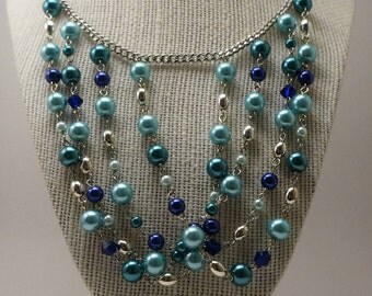 Shades of Blue Waterfall Necklace, Blue and Silver Statement Necklace, Blue Bib Necklace