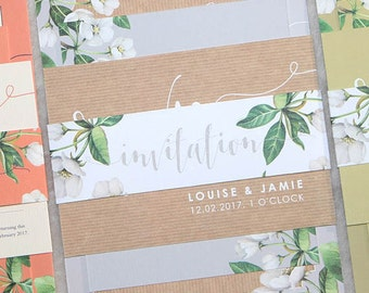 Wedding invitation stacked set - Botanicals design and printed on textured card