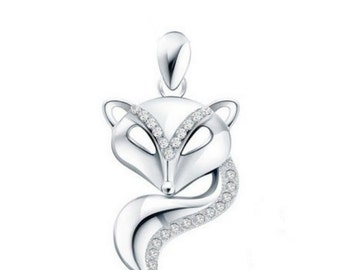 sterling silver Fox pendant charm for necklace
