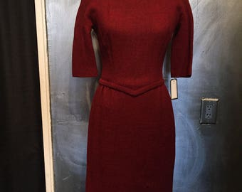1960s red wool wiggle dress- S