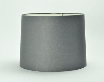Lamp shade, gray linen tapered drum