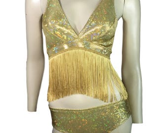 Gold Holographic Fringe Crop Top Bralette - Rave Wear, Festival Top, Burning Man Top, Boho