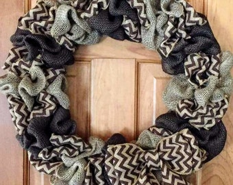 Country Brown Chevron Wreath