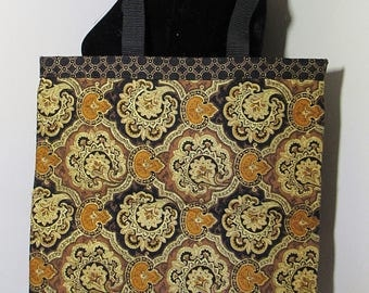 Quilted Tote Bag/tote bag/bags/gold/quilted bag/quilt/printed/damask print