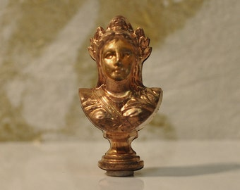 Vintage French 3D Grecian Bust Sculpture for Assemblage Jewelry or Multi-Media Raw Brass 269J 270J
