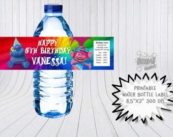 Trolls water bottle label, Printable bottle labels, Trolls  birthday, Trolls bottle wraps, Trolls theme party
