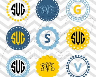 Monogram svg, Circle monogram svg, circle svg, scallop monogram svg, monogram cut file, digital cutting file, lace svg, commercial use OK,