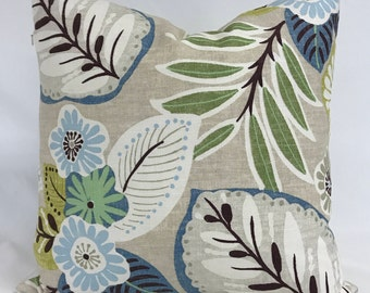 Pillow Cover - Modern Floral Pillow- Gray Pillow - Blue Green Gray Pillow -   Modern Look Pillow - Lumbar Available -Fully Lined - Zippered