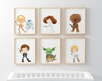 Star Wars Prints Set of 6-Child's Room Decor-Yoda-Luke-Leia-Chewie-R2-C3P0-Han Solo-Nursery print-Printable Art-Kids Print-Instant Download