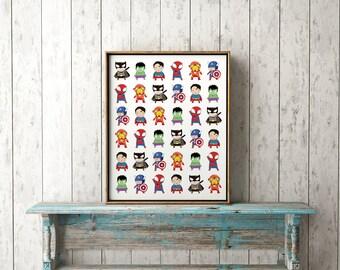 Superheros Print-Superhero Boys Print-Boy's Room Superhero Decor-Superman Spiderman Hulk Batman Ironman Captain America-Instant Download