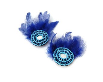 Fusion Hair Piece Tribal Fusion Hair Tribal Headpiece Blue Headpiece Feather Hairclip Burlesque Hair Piece Beaded Hairpiece Feather Barrette
