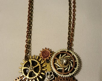 Silver, bronze & antique gold Steampunk necklace with key