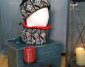 Winter Collar Endless Scarf Cold Weather Hand Knit Collar Neck Warmer Knitted Woolen Collar Jacquard Pattern Collar Set Gloves Hat Collar